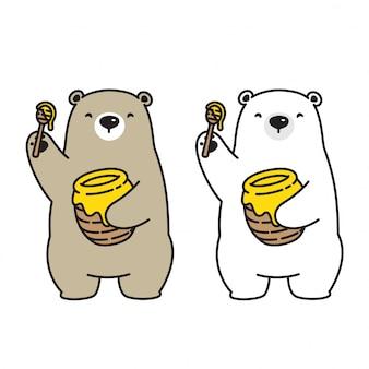 Медведь вектор полярный медведь мед пчелы значок логотип мультфильм характер иллюстрации