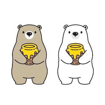 Медведь вектор полярный медведь мед пчелы логотип значок мультфильм характер иллюстрации