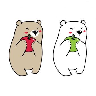 Белый медведь ест яблоко