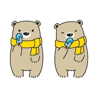 アイスクリームを保持しているクマ