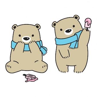 Медведь держит мороженое