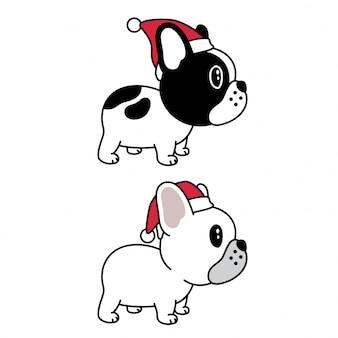 犬のフレンチブルドッグはサンタクロースの帽子をかぶる