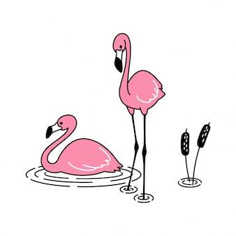 水の上に座っているピンクのフラミンゴ
