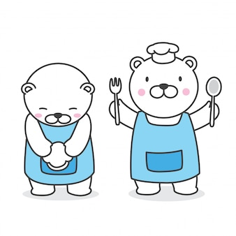 Медведь вектор полярный медведь шеф-повар мультфильм