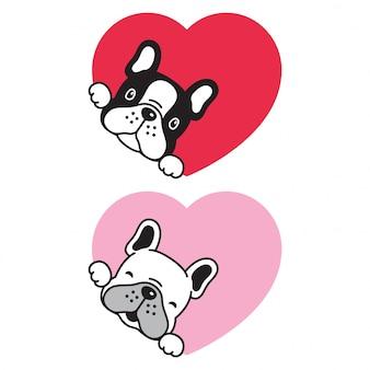 犬フレンチブルドッグバレンタインハート