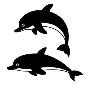 イルカの魚の落書き