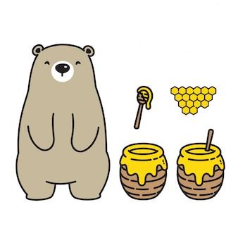 Медведь вектор полярный медведь мед пчелы значок логотип мультфильм