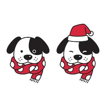 Собака новогодняя шапка деда мороза