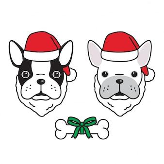 Собака французский бульдог рождество дед мороз