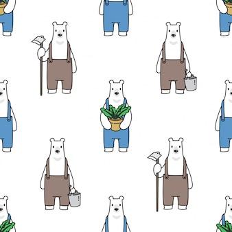 極地のシームレスなパターン漫画を負担します