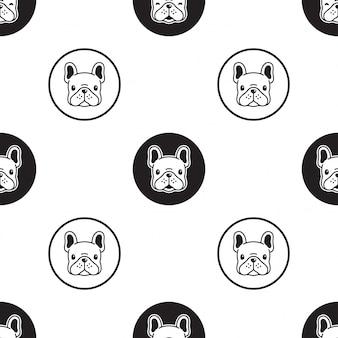 犬フレンチブルドッグのシームレスなパターン漫画イラスト