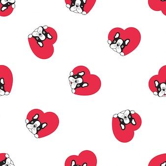 犬フレンチブルドッグシームレスパターンハートバレンタイン