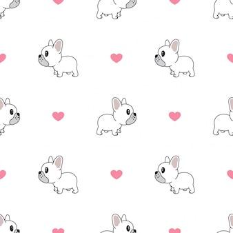 犬のシームレスパターンフレンチブルドッグハートバレンタイン