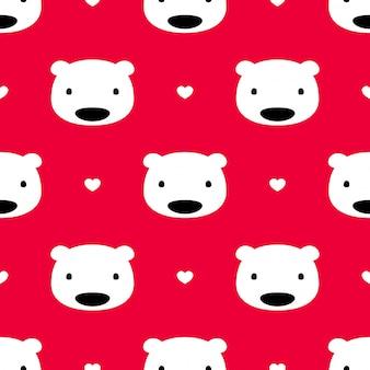 Медведь полярный бесшовный фон сердце валентинка