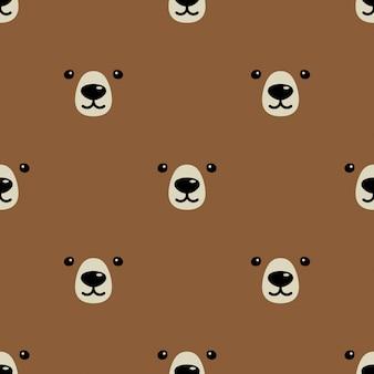 Медведь полярный бесшовные модели лица