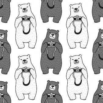 Медведь полярный бесшовные модели камеры