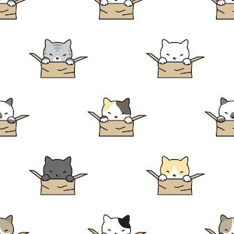 猫シームレスパターン子猫ボックス