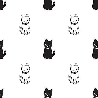 猫のシームレスなパターン子猫座って漫画