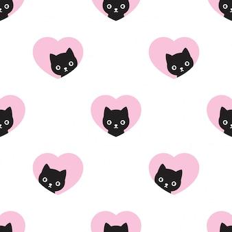 猫のシームレスなパターン子猫ハートバレンタイン漫画