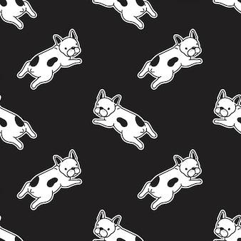 犬のフレンチブルドッグのシームレスなパターン図