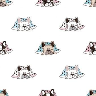 犬のシームレスなパターンフレンチブルドッグ睡眠漫画