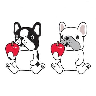 Собака французский бульдог яблоко