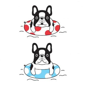Собака французский бульдог плавание кольцо