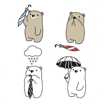 Медведь полярный дождь зонтик персонаж