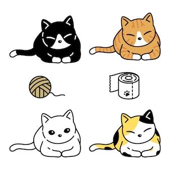 Кошка котенок пряжа шар ткани мультфильм