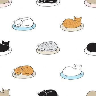 猫のシームレスなパターンの子猫睡眠枕漫画ペットイラスト
