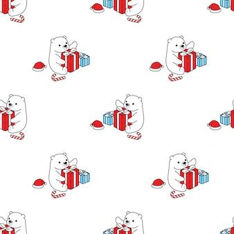 Медведь бесшовные модели полярный рождественский подарок мультфильм