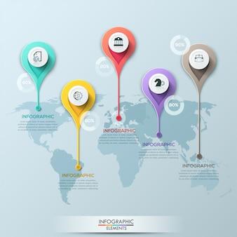 Векторная карта мира иллюстрации и шаблон оформления инфографики