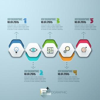 Современный инфографический шаблон процесса с бумажными листами