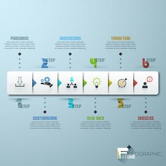 ビジネスタイムラインインフォグラフィックテンプレート。ベクトルイラスト