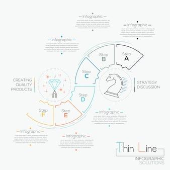 Тонкая линия минимальная инфографика варианты баннер с шаблоном процесса