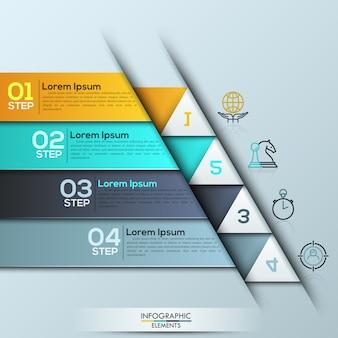 Инфографический шаблон с прямоугольными пронумерованными слоями