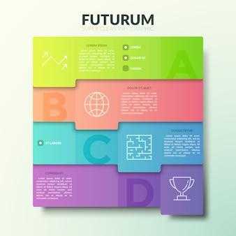 Четыре наложенных друг на друга красочных прямоугольных элемента с буквами, тонкими линиями значков и местом для текста.