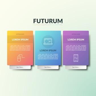 Три отдельных прямоугольных элемента с тонкими линиями пиктограмм, заголовками, текстовыми полями и дополнительной вкладкой.