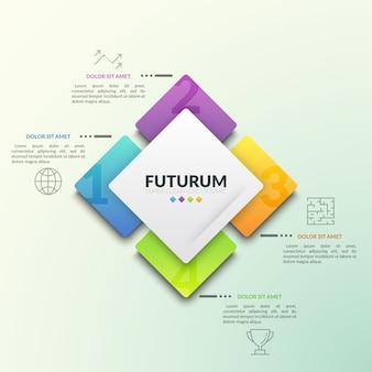 Четыре пронумерованных квадратных элемента расположены вокруг центрального элемента и собраны с помощью пиктограмм и текстовых полей по линиям. инфографический шаблон дизайна.
