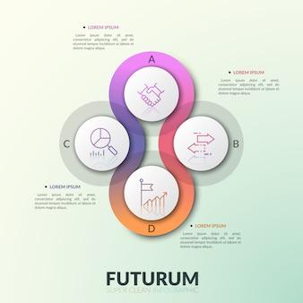Четыре накладывающихся друг на друга полупрозрачных круглых элемента размещены вокруг центра с буквами и тонкими линиями пиктограмм внутри. современный инфографический шаблон дизайна.