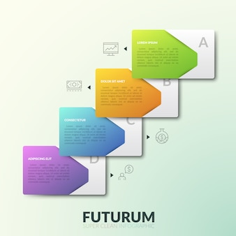 Четыре наложенных друг на друга прямоугольных элемента с текстовыми полями, расположенными в диагональном ряду и тонкими линиями рядом с каждым из них. современная инфографика дизайн макета.