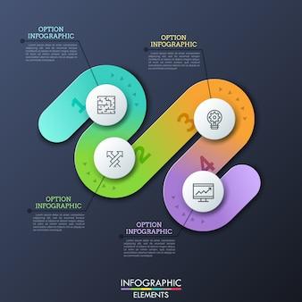 Современный инфографический шаблон дизайна в форме изогнутого пути с четырьмя пронумерованными шагами, тонкими символами линии и текстовыми полями. концепция четырех препятствий для успешного развития бизнеса.