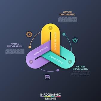 Современные инфографические шаблоны дизайна с тремя красочными звеньями цепи, соединенными вместе, тонкими линиями пиктограмм и текстовых полей.