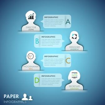 Шаблон для инфографики бизнес-команды с бумажными лицами