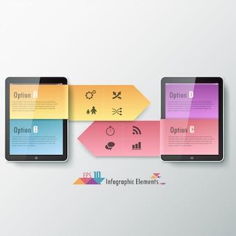 タブレットを使用した最新のインフォグラフィックスオプションバナー