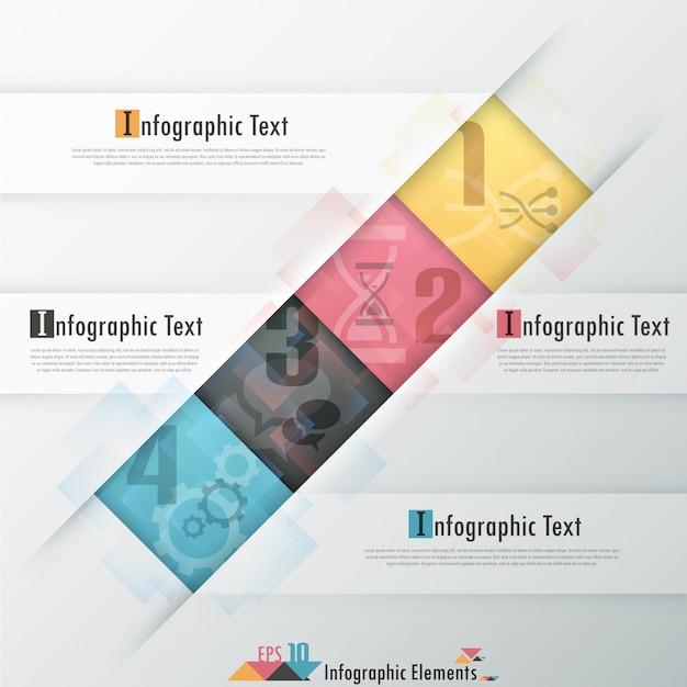Современная инфографика бумажный шаблон с прямоугольниками