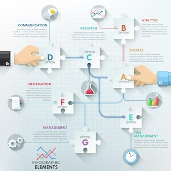 Бизнес руки команде инфографика шаблон