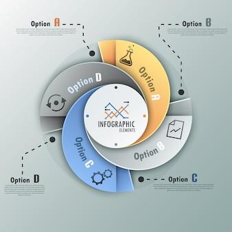 モダンなインフォグラフィックスパイラルオプションバナー