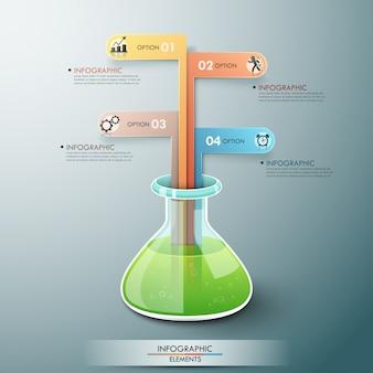 化学フラスコを持つモダンなインフォグラフィックテンプレート