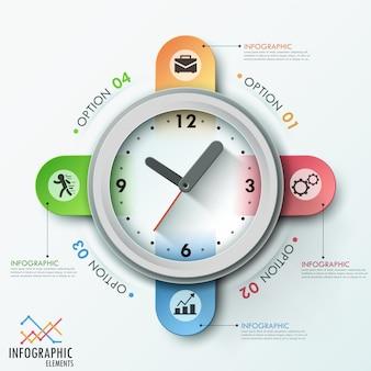 時計とモダンなインフォグラフィックテンプレート
